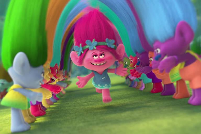 """Cena do primeiro filme """"Trolls"""", de 2016"""