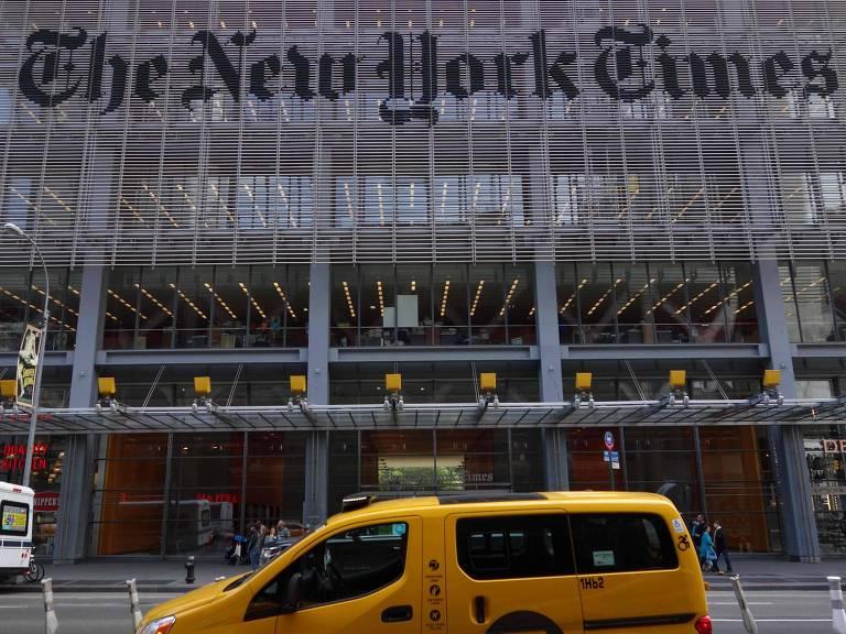 """Fachada do prédio do """"New York Times"""", em Nova York"""