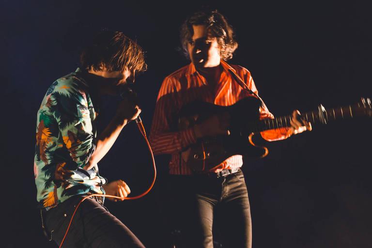A banda francesa de indie rock Phoenix durante show no festival Popload 2017, em São Paulo