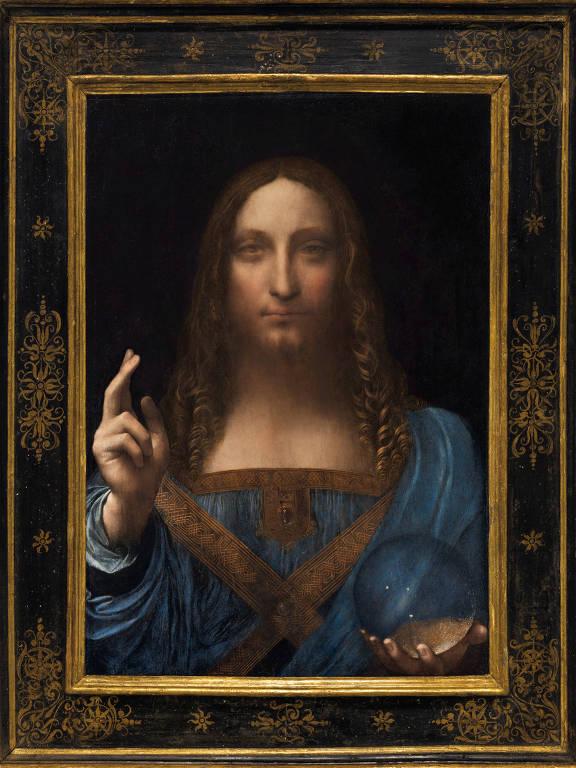 Gesto de Cristo aben�oando lembra 'S�o Jo�o Batista', obra de Leonardo Da Vinci, no Louvre; o detalhe � apontado por especialistas como prova de autenticidade do 'Salvator Mundi