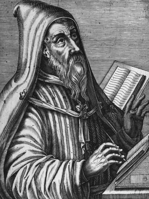 Retrato do filósofo e religioso Santo Agostinho (354-430)