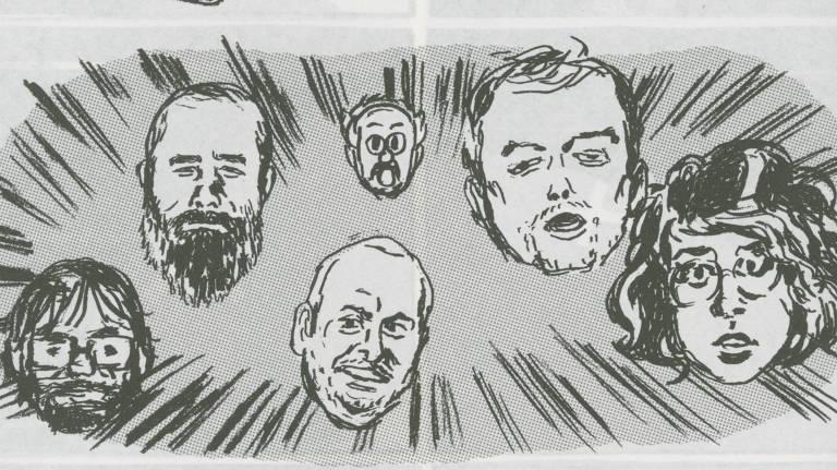 Personagens da HQ 'O Convidado', um dos trabalhos do autor brasiliense Gabriel G�es inclu�dos na 'Baiacu'