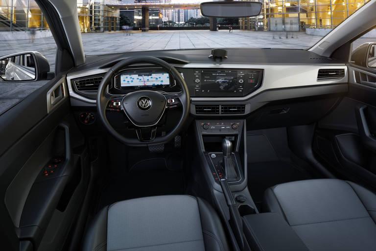 Interior do Virtus, da Volkswagem, lançado neste ano com um sistema desenvolvido no Brasil que tira dúvidas sobre o carro via aplicativo