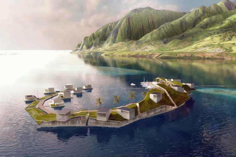 Ilustra��o de ilha artificial, cujos habitantes viveriam se deslocando pelo oceano, proposta por Joe Quirk