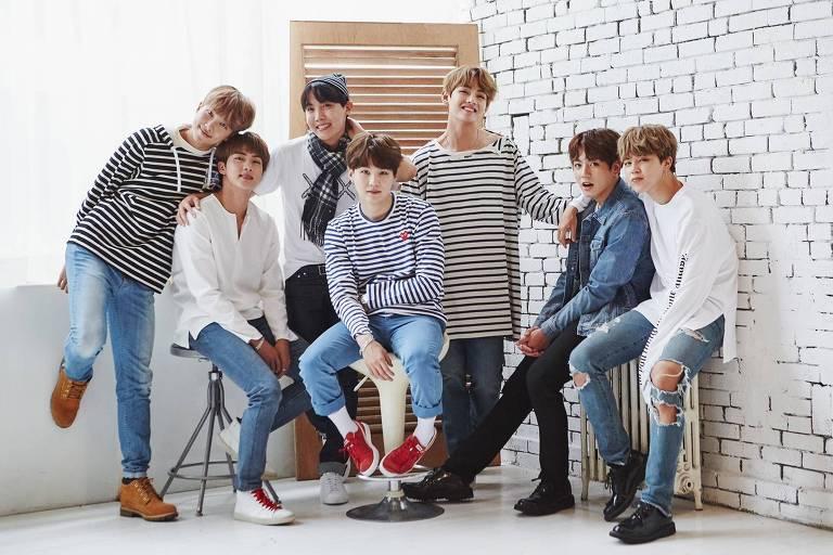 Integrantes do grupo sul-coreano de k-pop BTS