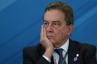 Paulo Rabello de Castro, chief executive officer of Brazilian state development lender BNDES gestures during a ceremony to launch the new program of the Brazilian state development lender BNDES at the Planalto Palace in Brasilia