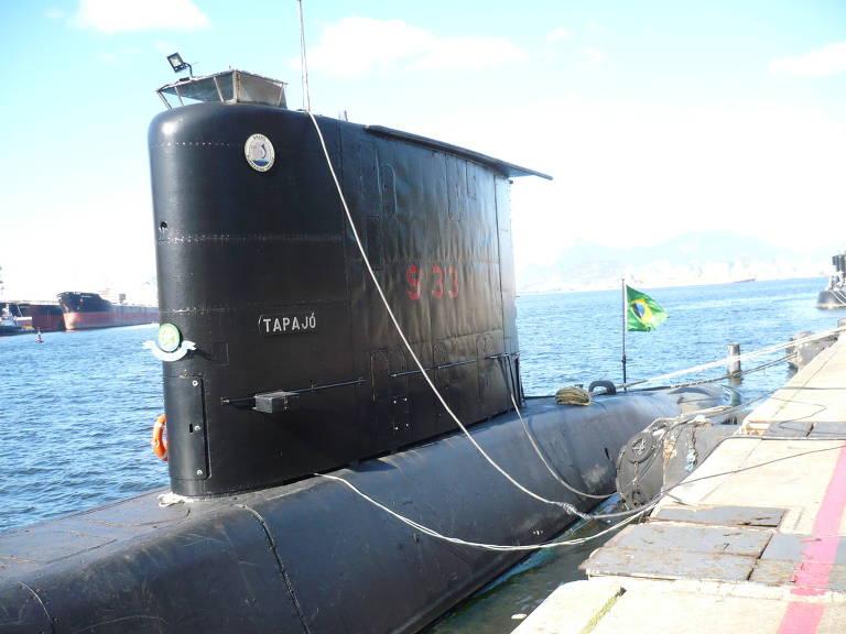 "Submarino ""Tapajó"", da Marinha do Brasil, ancorado na base naval – Ricardo Bonalume Neto/Folhapress"