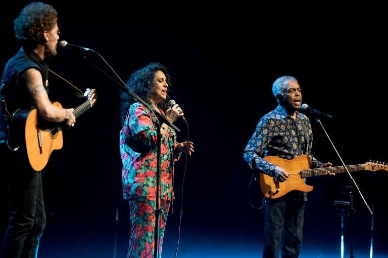 O Trinca de Ases, formado por Gilberto Gil, Gal Costa e Nando Reis se apresentam no Espaço das Américas