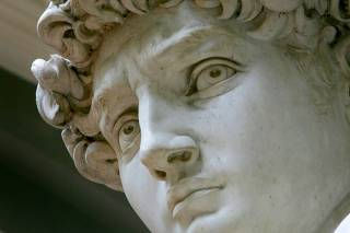 MICHELANGELOS NEWLY CLEANED STATUE OF DAVID IS SHOWN AT UFFIZI GALLERY IN FLORENCE