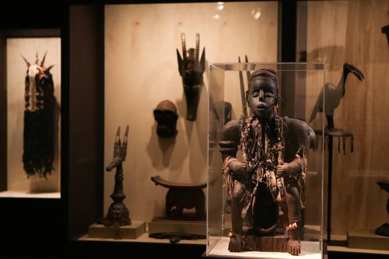 Artefato africano, sem identificação do autor, em exposição no Museu Afro Brasil, em São Paulo