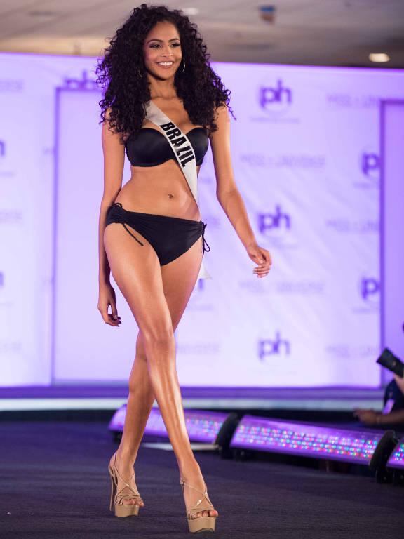 Monalysa Alcântara, Miss Brasil Universo 2017, durante desfile em Las Vegas (EUA), na competição do Miss Universo