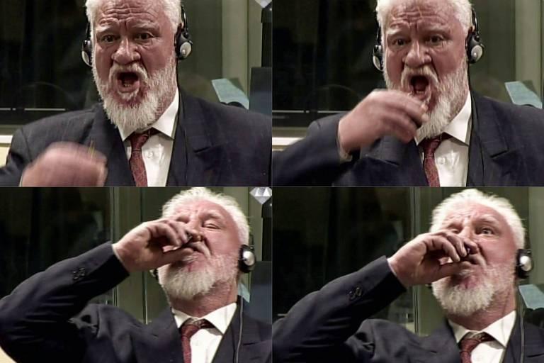 Slobodan Praljak bebendo o veneno durante o julgamento em Haia