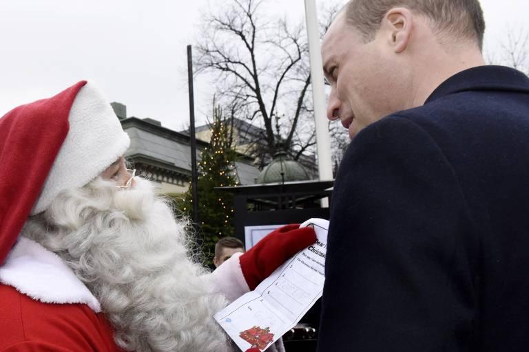 Príncipe William e Papai Noel na Finlândia