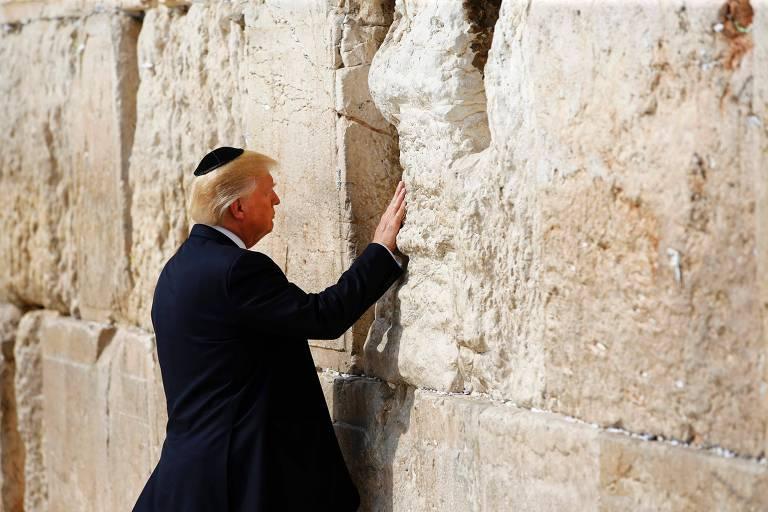 O presidente americano Donald Trump durante sua visita a Jerusalém em maio