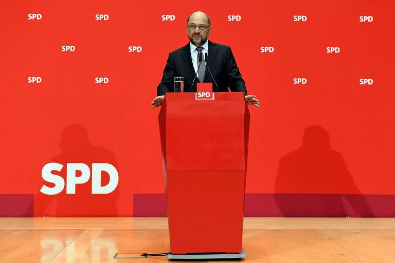 Martin Schulz, líder do SPD, durante seu discurso em Berlim nesta sexta (1º)