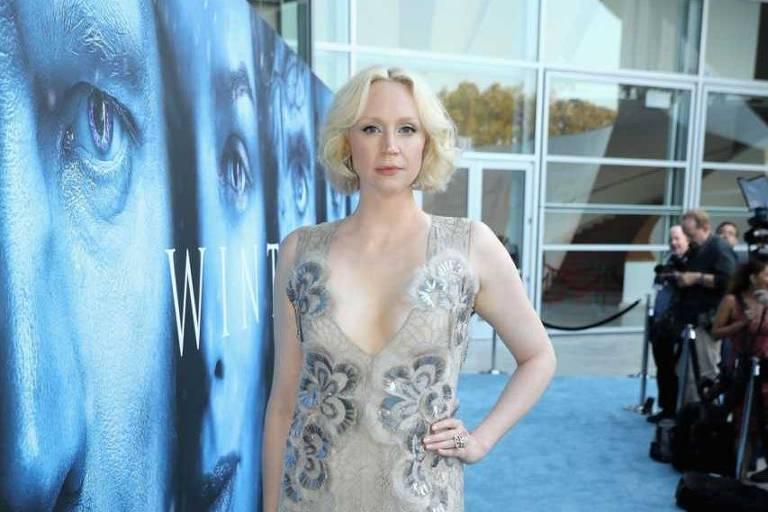 """A atriz Gwendoline Christie atua em """"Game of Thrones"""" como a guerreira Brienne de Tarth e participou dos dois últimos filmes da franquia """"Jogos Vorazes""""."""