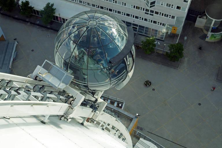 O SkyView, em Estocolmo, na Suécia, é um passeio pelo exterior do Ericsson Globe