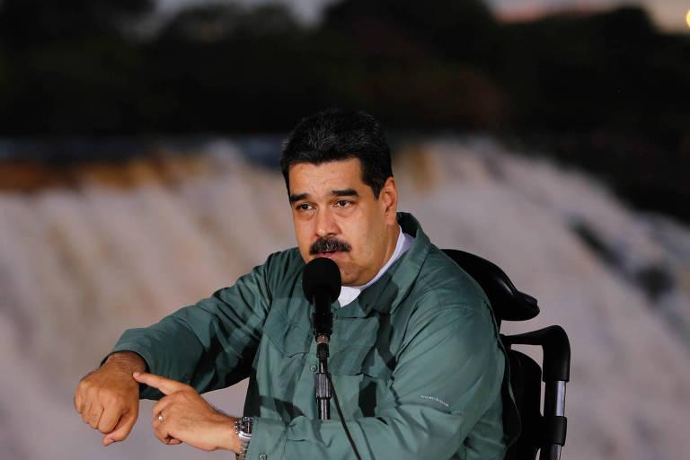O l�der venezuelano, Nicol�s Maduro, discursa em evento com mineiros no Estado de Bol�var na ter�a