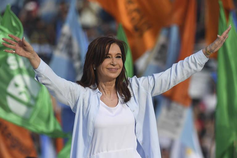 A ex-presidente Cristina Kirchner, durante a campanha na qual conquistou uma vaga ao Senado