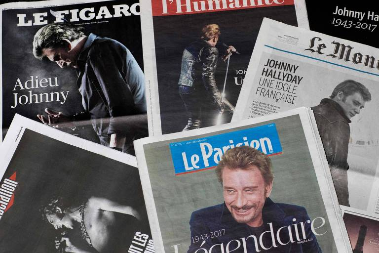Capas de jornais franceses com a notícia da morte de Johnny Hallyday