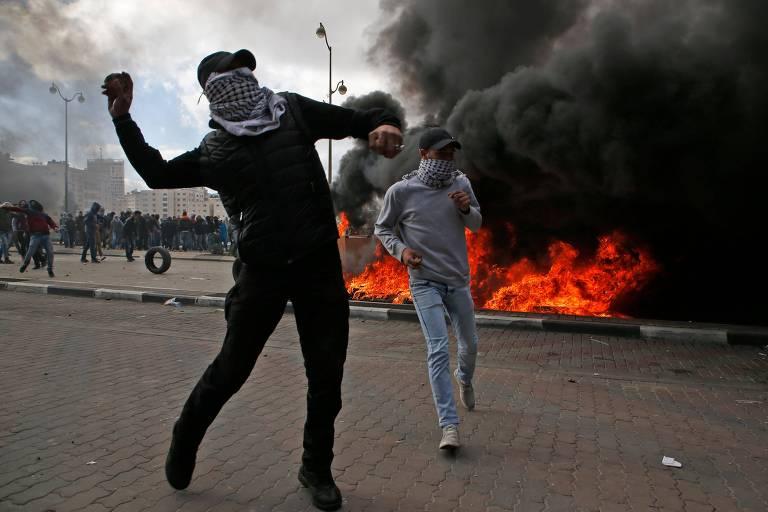 Protestos na Cisjord�nia e na faixa de Gaza