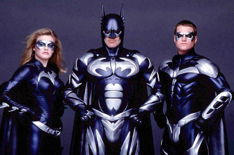"O elenco do filme ""Batman e Robin"", de 1997"