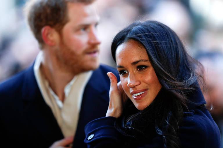Príncipe Harry e sua noiva, Meghan Markle, em evento em Nottingham