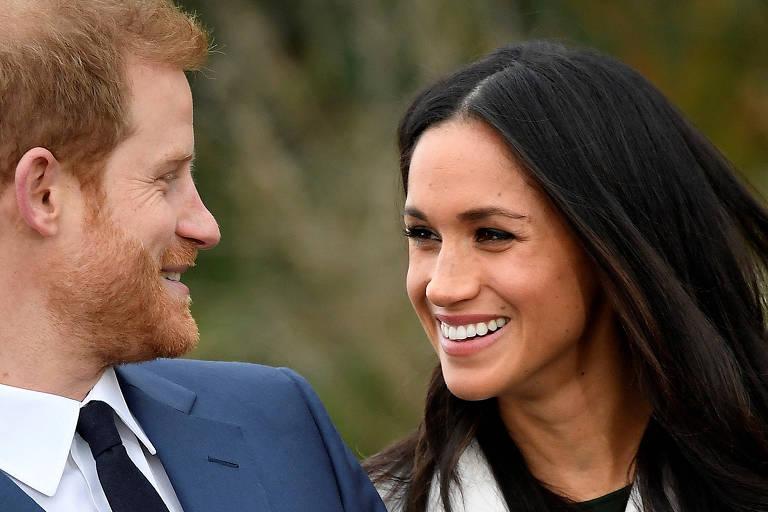 A atriz Meghan Markle e o príncipe Harry