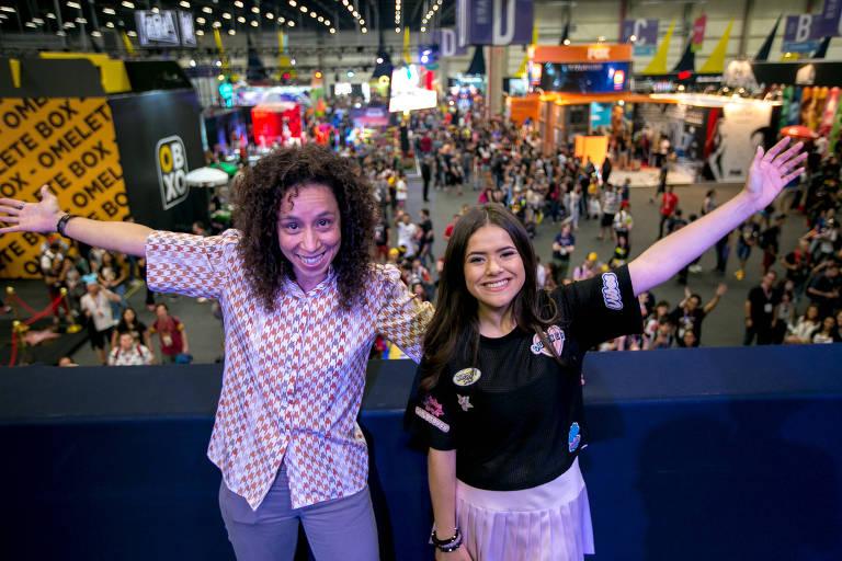 As atrizes Maisa e Thalita Carauta na Comic-Con em São Paulo