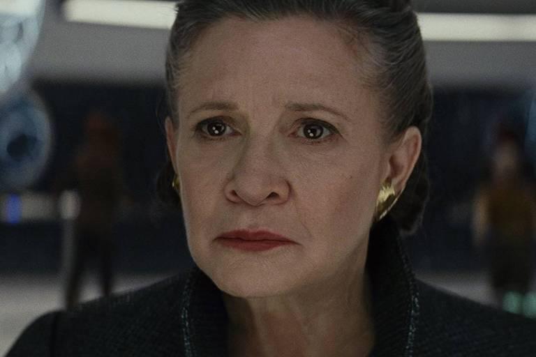 """Carrie Fisher em cena do filme """"Star Wars: O último Jedi"""""""