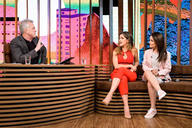 Pedro Bial conversa com Ingrid Guimarães e Larissa Manoela