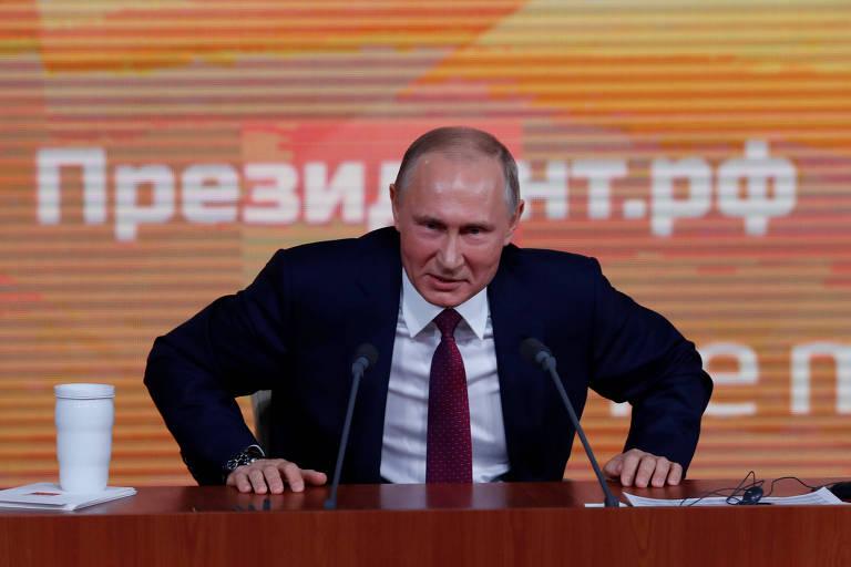 O presidente russo Vladimir Putin durante sua entrevista coletiva de final de ano, em Moscou