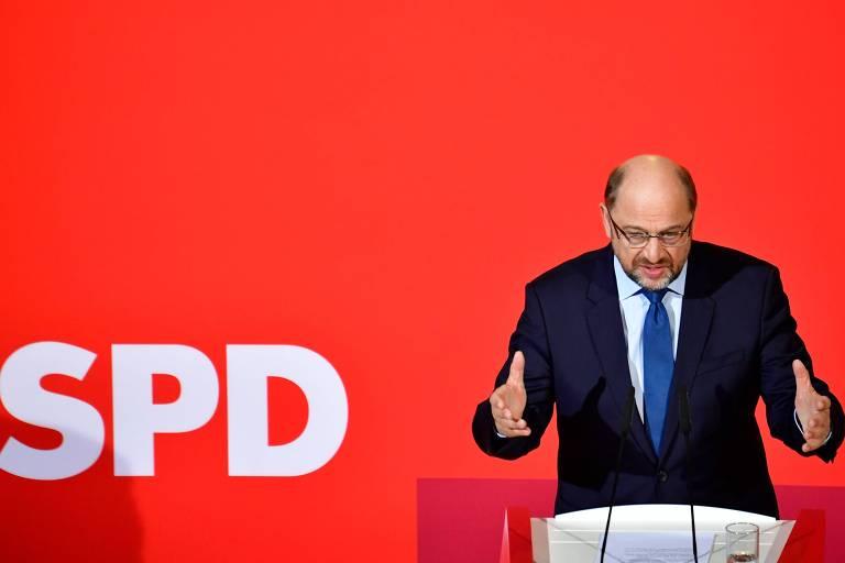 Martin Schulz, l�der do SPD, durante coletiva em Berlim na qual anunciou o in�cio das negocia��es