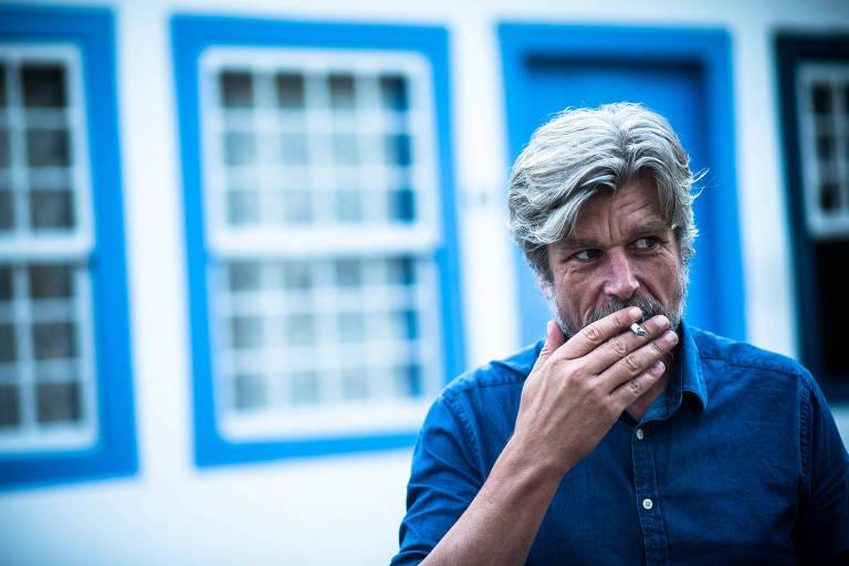 O escritor noruegu�s Karl Ove Knausg�rd na Flip de 2016