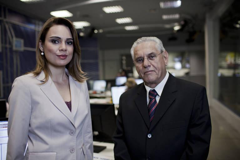 """Rachel Sheherazade e Joseval Peixoto, que formaram a primeira bancada do """"SBT Brasil"""", em 2011"""