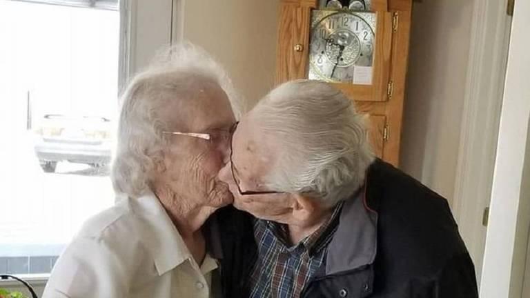 Audrey e Herbert disseram adeus pela primeira vez em 73 anos