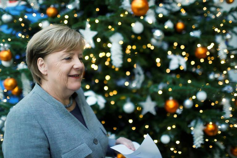 A chanceler alem�, Angela Merkel, ap�s reuni�o de seu partido em Berlim