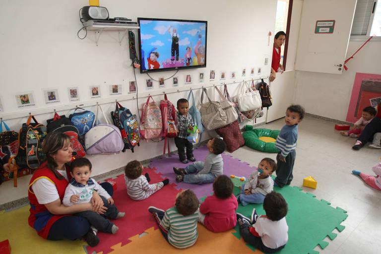 Crianças em creche do Jardim Edite, zona sul de São Paulo