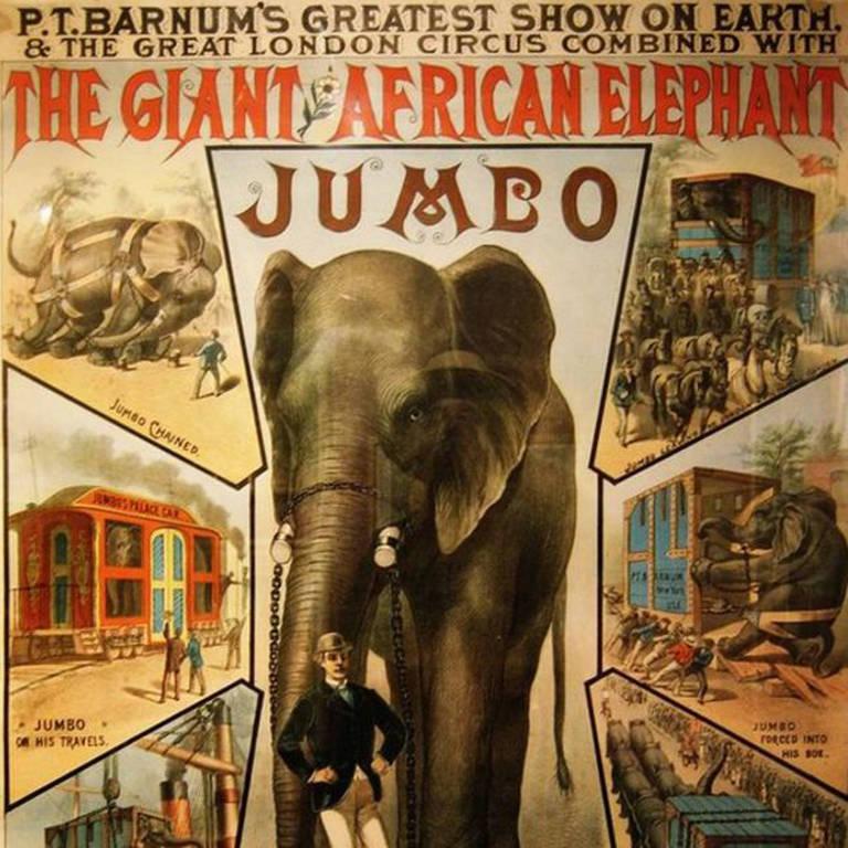 Jumbo, 'o maior elefante do mundo', foi uma grande atração nos dois lados do Atlântico