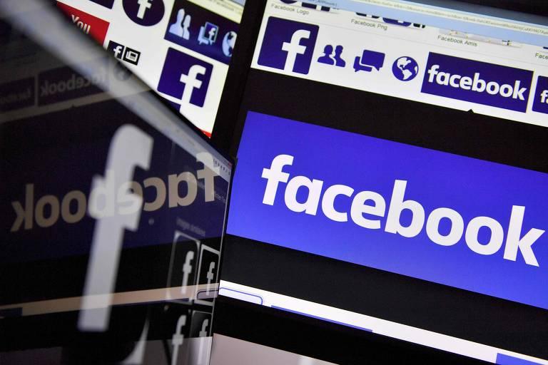 Uma tela de computador mostra diversos logos do Facebook
