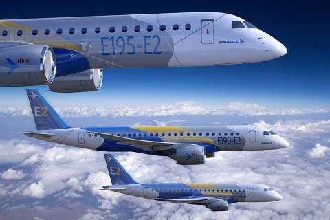 Aviões fabricados pela companhia brasileira Embraer DIREITOS RESERVADOS. NÃO PUBLICAR SEM AUTORIZAÇÃO DO DETENTOR DOS DIREITOS AUTORAIS E DE IMAGEM