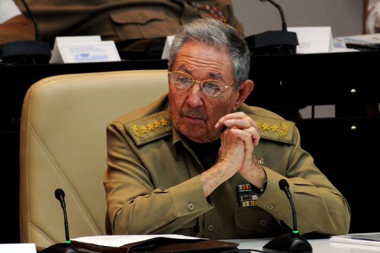 O dirigente cubano, Ra�l Castro, em sess�o na Assembleia Nacional, em Havana