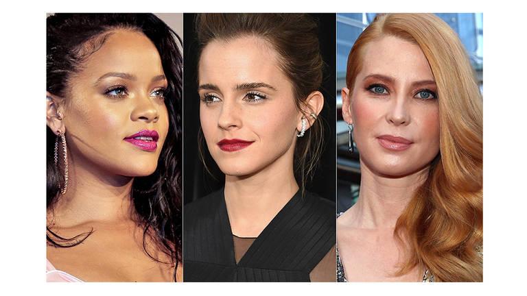 Rihanna, Emma Watson e Emma Booth escolheram tendências de maquiagem diferentes que são boas inspirações para as festas de fim de ano