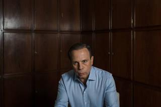 O prefeito de São Paulo, João Doria, durante entrevista à Folha