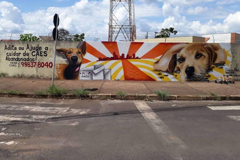 Artista pinta cães em muros