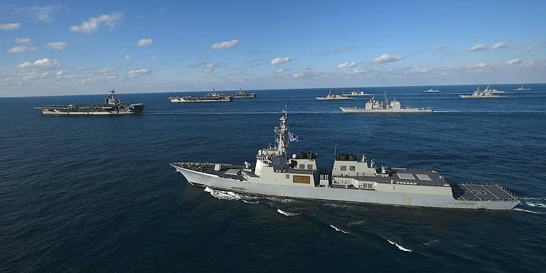 Exerc�cio naval na Coreia do Sul