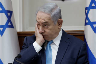 Israeli Prime Minister Benjamin Netanyahu attends a cabinet meeting at the Prime Minister's office in Jerusalem