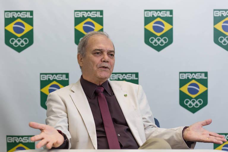 O presidente do Comitê Olímpico Brasileiro, Paulo Wanderley Teixeira, em entrevista na sede da entidade