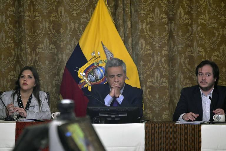 O presidente do Equador, Lenín Moreno, ao lado de sua nova vice, María Alejandra Vicuña, no dia 3