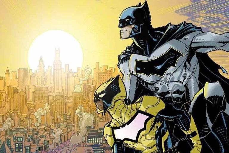 O personagem Signal ao lado de Batman na série em quadrinhos escrita por Scott Snyder e Tony Patrick e ilustrada por Cully Hamner